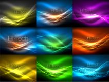 Glowing wave lines background collection, abstract backgrounds. Vector illustration Royalty Free Stock Image
