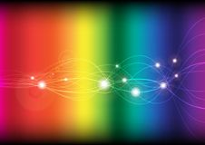 Glowing Waves. Abstract Background - Glowing Waves on Spectrum Background / Vector royalty free illustration