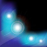 Glowing Waves. Abstract Background - Blue Glowing Waves On Black Background / Vector royalty free illustration