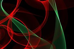 Glowing waves for creative backgrounds. Abstract wave motion of colorful glowing lines on dark background for creative, dynamic, interesting backgrounds and royalty free illustration