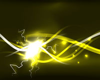 Glowing wavy lines template Royalty Free Stock Photography