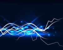 Glowing wavy lines template. Color lightning concept in the dark, energy magic abstract background vector illustration