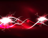 Glowing wavy lines template Royalty Free Stock Images