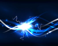 Glowing wavy lines template. Color lightning concept in the dark, energy magic abstract background stock illustration