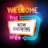 Glowing Welcome Signs. Retro Showtime Sign. Theatre cinema Sign with glowing neon signs. Vector illustration Stock Photography