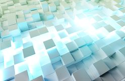 Glowing white and blue squares background pattern 3D rendering stock photography