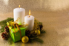 Glowing white Christmas candles royalty free stock image
