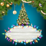 Glowing White Christmas Lights. EPS 10 Stock Photography