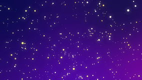 Glowing white yellow sparkles on a purple blue background. Festive purple blue gradient background with glowing yellow white dot sparkles imitating a night sky stock footage
