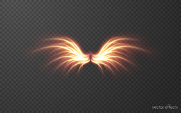Glowing wing vector effect. Glowing fire phoenix wing vector effect. EPS10 Stock Images