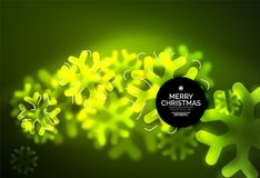 Glowing Winter Snowflakes on dark, Christmas and New Year holiday background. Vector abstract background, green color Stock Photos