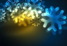 Glowing Winter Snowflakes on dark, Christmas and New Year holiday background. Vector abstract background, yellow and blur colors Stock Photo