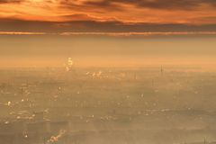 Glowing winter sunrise with bright orange clouds over Budapest Stock Photography