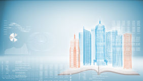 Glowing wire-frame buildings on open empty book Royalty Free Stock Images