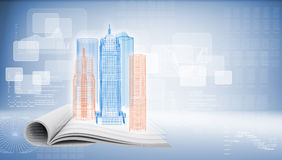 Glowing wire-frame buildings on open empty book Stock Photos