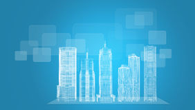 Glowing wire-frame buildings on transparent plane Stock Photo