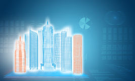 Glowing wire-frame buildings on transparent planes Stock Photos