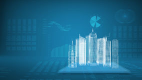 Glowing wire-frame buildings on transparent planes Stock Images