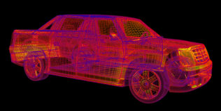 Glowing wireframe of a car 3d model Stock Photos
