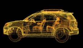 Glowing wireframe of a car 3d model Stock Image
