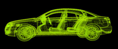 Glowing wireframe of a car 3d model. Isolated on black background Vector Illustration