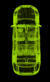 Glowing wireframe of a car 3d model. Isolated on black background Royalty Free Illustration