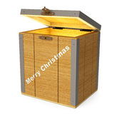 Glowing wooden box. Wooden box illuminated inside, a gift for Christmas (3d render stock illustration