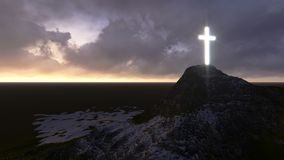 Glowing wooden cross Royalty Free Stock Images
