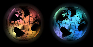 Glowing world globe cold and warm color Royalty Free Stock Photography