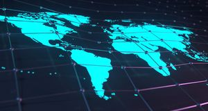 Glowing World Map On Plexus Background With Reflection.3D Render. Blue Glowing World Map On Plexus Background With Reflection.3D Rendering Stock Images