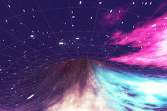 Glowing wormhole in space, interstellar warp, traveling trough space and time. 3d rendering Stock Photos