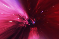 Glowing wormhole in space, interstellar warp, traveling trough space and time. 3d rendering Stock Photography
