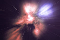 Glowing wormhole in space, interstellar warp, traveling trough space and time. 3d rendering Royalty Free Stock Photos