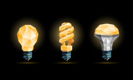 Glowing yellow 3d low poly light bulbs model set. Vector polygonal fluorescent and led bulb illustration on a black background vector illustration