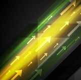 Glowing yellow and green hi-tech background with arrows Royalty Free Stock Image