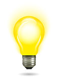 Glowing yellow light bulb as inspiration concept Stock Image