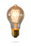 Glowing Yellow Light Bulb Isolated Stock Photos