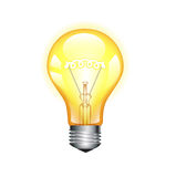Glowing yellow light bulb isolated on white Stock Photos