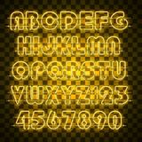 Shining and glowing yellow neon alphabet and digits. Glowing yellow neon alphabet with letters from A to Z and digits from 0 to 9 on transparent background stock illustration