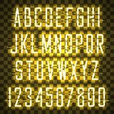 Glowing Yellow Neon Casual Script Font Stock Photography