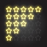 Glowing yellow neon lights 5 stars rating Royalty Free Stock Photography