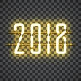 Glowing Yellow Neon sign 2018. On transparent background with wires, tubes, brackets and holders. Vector element for New Year card, logo or other design Stock Image