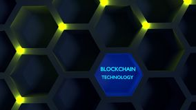 Glowing yellow nodes on a honeycomb structure blockchain concept Royalty Free Stock Photography