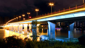 Glows at night. Urban landscape, quiet night, the beautiful night lights bright, colorful, bridge, a beautiful view Stock Photography