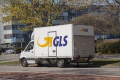 GLS delivery van parked in a street. Copenhagen, Denmark. April 20, 2019 royalty free stock image