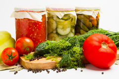 Gläser in Essig eingelegtes Gemüse Lizenzfreies Stockbild