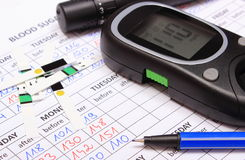 Glucometer and accessories for measurement on medical forms for diabetes Royalty Free Stock Image