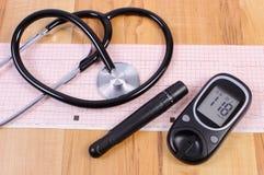 Glucometer con el dispositivo y el estetoscopio de la lanceta en gráfico del electrocardiograma fotos de archivo