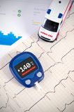 Glucometer for diabetes on medical health report Royalty Free Stock Photos