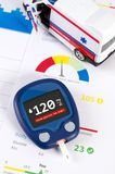 Glucometer for diabetes on medical health report. Diabetes, glucometer sugar measure on health report documents. Composition with ambulance toy royalty free stock image